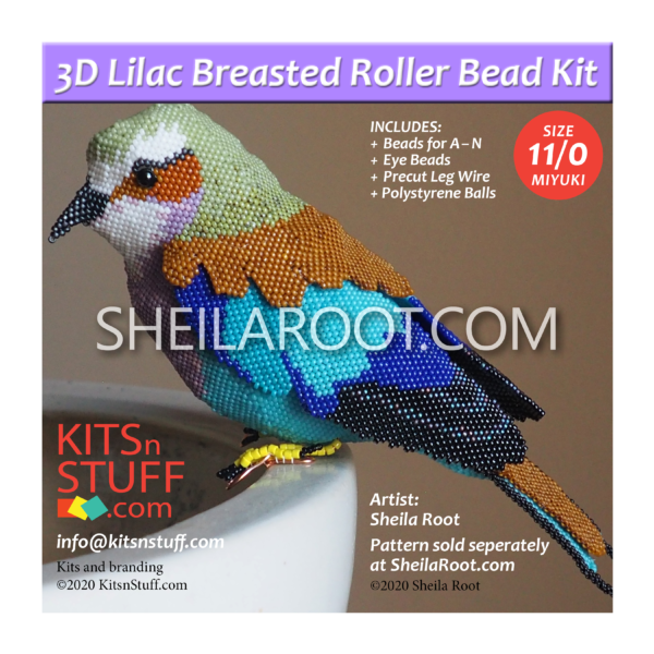 Size 11/0 BEAD KIT: 3D Lilac Breasted Roller