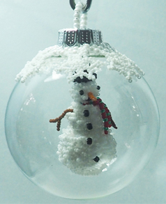 Snowman in a Glass Ball with Snowflakes PDF PATTERN