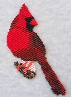 Northern Cardinal in flat brick stitch PDF
