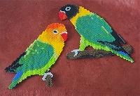 Lovebirds in flat Brick Stitch PDF pattern